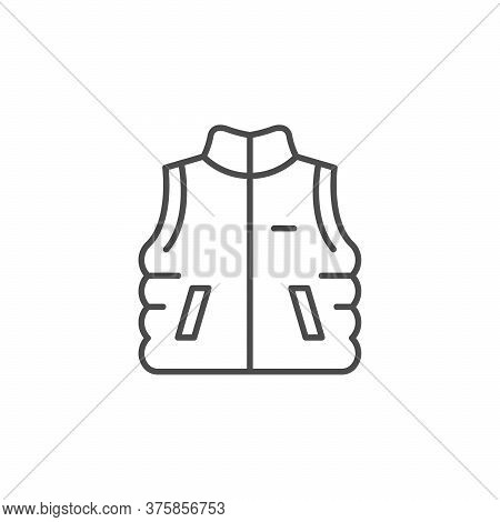 Outdoor Waistcoat Line Outline Icon Isolated On White. Protective Vest, Camping Outfit, Survival Uni