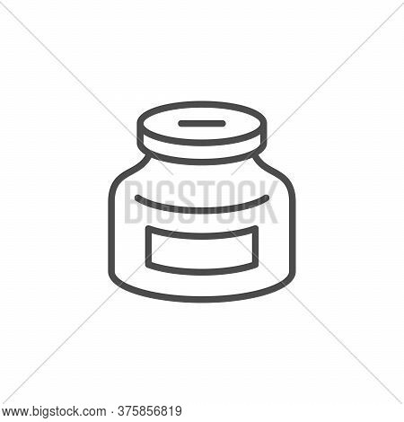 Glass Money Jar Line Outline Icon Isolated On White. Investment Concept, Pension, Moneybox. Vector I