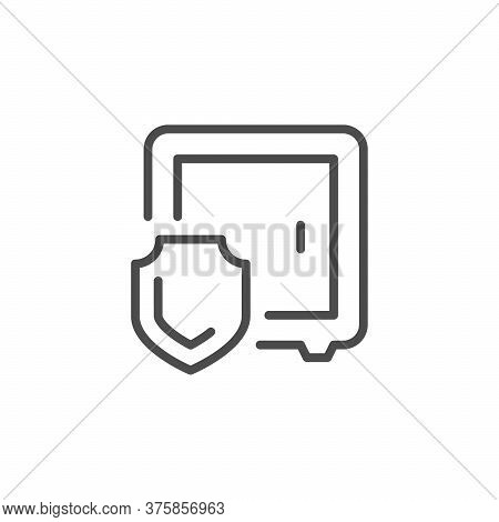 Money Safe Line Outline Icon Isolated On White. Moneybox And Shield Sing. Protection And Secure. Sav
