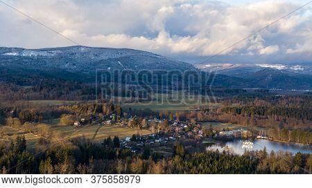 Ore Mountains And Frozen Landscape In Czech Republic