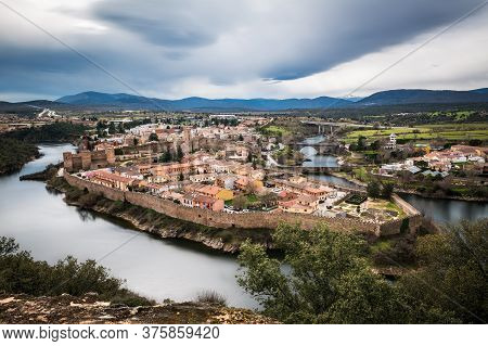 Aerial View Of Buitrago Del Lozoya, A Well Preserved Historic Village Near Madrid, Surrounded By The