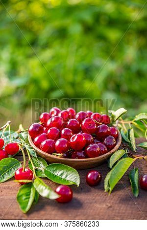 Bowl Of Fresh Ripe Cherries On The Wooden Table, Copy Space