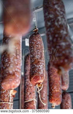 Surface Mold Starting To Growth On The Dry Salami