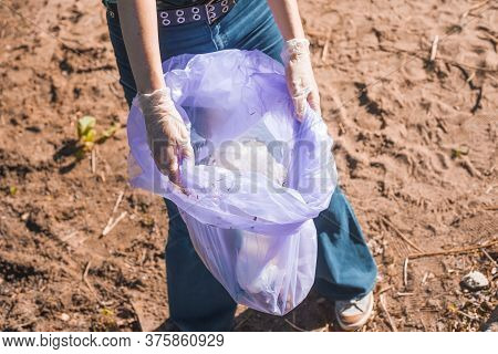 Taking Care Of Our Planet. Garbage Collection And Sorting. Problem Of Garbage In Nature, Plastic Cel
