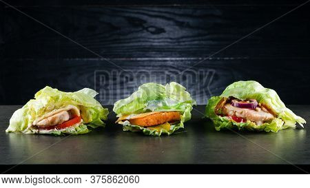 Set Collection Three Low-carb Burger, Protein Lettuce Wrapped Burger Lettuce Wrap With Toppings And