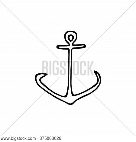 The Anchor Is Drawn By Hand. Anchor Line Icon. Minimalist Icon Isolated On White Background. Anchor
