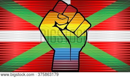 Shiny Lgbt Protest Fist On A Basque Flag - Illustration,  Abstract Grunge Basque Flag And Lgbt Flag