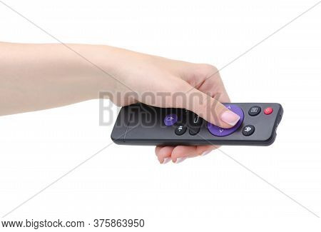 Remote Control Tv In Hand On White Background Isolation