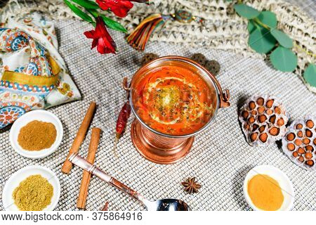 Spicy And Nutritious Soup With Meat Named Hodgepodge With Spices. Russian Traditional Cuisine