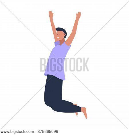 Happy Young Beautiful Man Jumping Flat Vector Illustration. Man Having Fun, Dancing And Jumping With