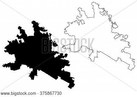 Leon City (united Mexican States, Mexico, Guanajuato State) Map Vector Illustration, Scribble Sketch