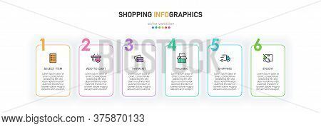 Concept Of Shopping Process With 6 Successive Steps. Six Colorful Graphic Elements. Timeline Design