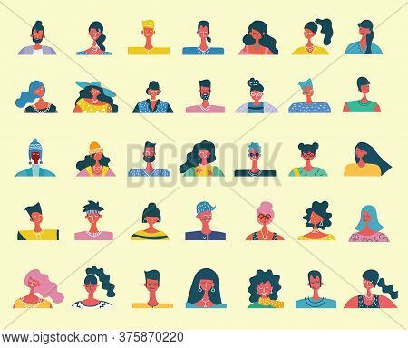 Vector Flat People Portraits. Smiling Human Icon. Human Avatar. Simple Cute Characters. Cute Friendl
