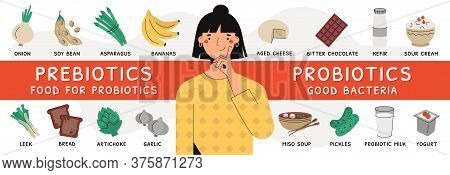 Flat Vector Illustration Of Female Character With Probiotic And Prebiotic Source Products. Nutrient