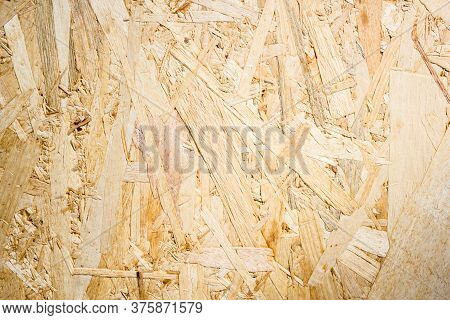 Pressed Wooden Panel Background, Texture Of Oriented Strand Board. Osb