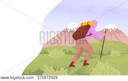 Traveler Climbs On The Mountains. Concept For Hiking Outdoors. Color Cartoon Flat Vector Illustratio