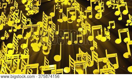 Rain Of Golden Musical Notes, Computer Generated. 3d Rendering Melodic Background