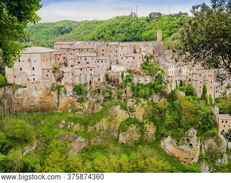 Picturesque View Of Sorano, Tuff Mediaeval Village In Tuscany, Italy