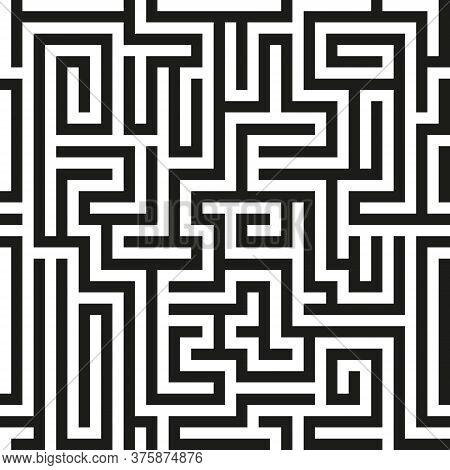 Black Seamless Vector Maze On White Background. Black Labyrinth Pattern. Vector Maze Pattern. Labyri