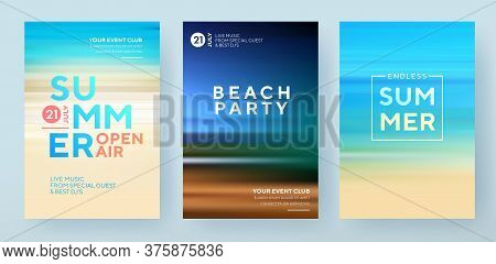 Summer Backgrounds Set. Creative Posters Or Banners Design With Gradients In Summer Colors. Ocean Ho