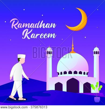 Illustration Of A Muslim Bring Lamp And Walking To The Mosque. Ramadan Kareem Illustration With Musl