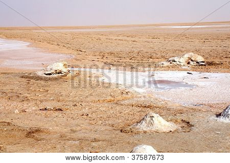 The salt lake of Chott el-Jerid in Tunisia