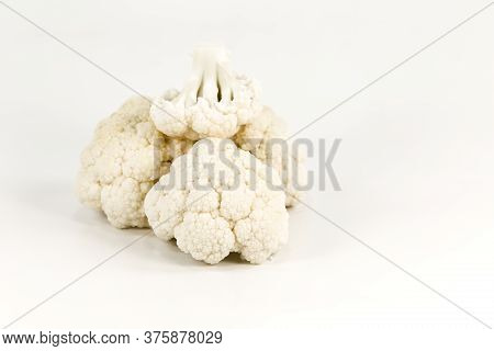 Close-up Of Some Delicious White Cauliflower Illustrating A Healthy Lifestyle With Copy Space
