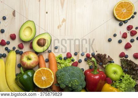 Vegetables And Fruits On Wood Table ,healthy Food Concept