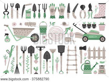 Garden Tools Set. Vector Flat Gardening Equipment