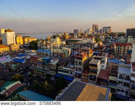 Phnom Penh, Cambodia - January 9, 2020: City Aerial View From The Cloud 9 Sky Bar.
