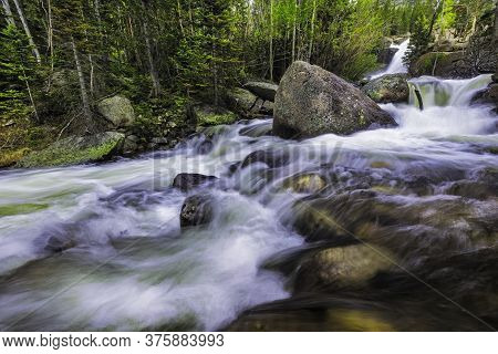 Alberta Falls In Rocky Mountain National Park During The Spring Runoff