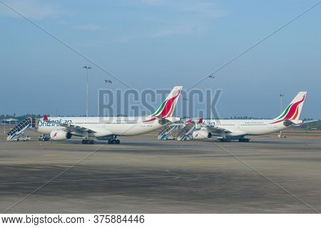 Colombo, Sri Lanka - February 24, 2020: Two Airbus A330 Aircraft Of The National Airline Of Sri Lank