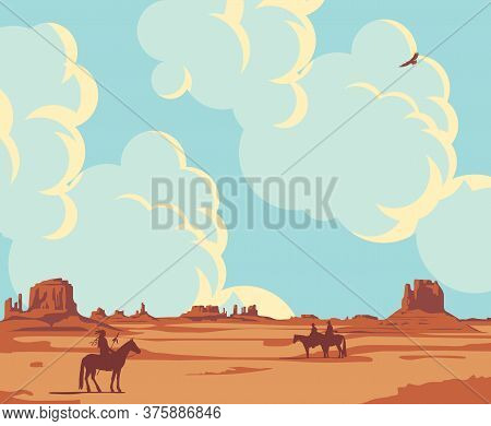 Western Landscape With Wild American Prairies, Cloudy Sky And Silhouettes Of An Indian And Cowboys O