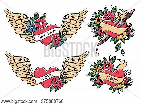Collection Of Heart Tattoos In Old School Style. Heart With Ribbon, Flowers And Words Mom, Love, Tru