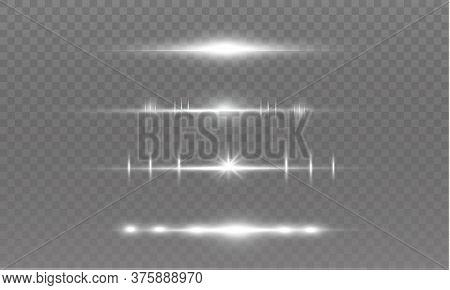 White Horizontal Lens Flares Pack. Laser Beams, Horizontal Light Rays. Beautiful Light Flares. Glowi