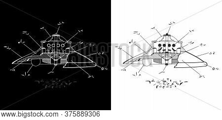 Abstract Alien Plan Of The Classic Dome Ufo Flying Saucer With Alien Abstract Language Written