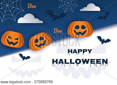 Halloween classic blue background with pumpkins and bats in paper style, 3D. Vector. Happy Halloween Halloween classic blue background with pumpkins and bats in paper style, 3D. Happy Halloween banner or party invitation background with clouds