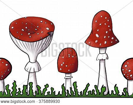 Border Of Redcap Fly Agarics On Grass. Hand-drawn Poisonous Mushrooms With Dots On Red Caps And Ring
