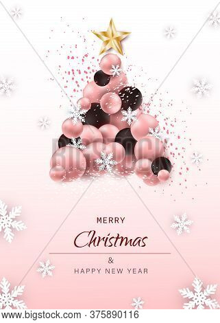 Christmas. Christmas Vector. Christmas Background. Merry Christmas Vector. Merry Christmas banner. Christmas illustrations. Merry Christmas Holidays. Merry Christmas and Happy New Year Vector Background.Luxury Christmas Tree made of festive elements such