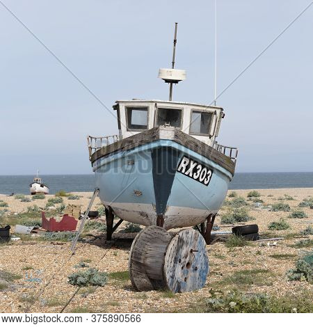 Dungeness, Kent / United Kingdom - June 3: A Fishing Boat On Dungeness Beach A Headland Formed Large
