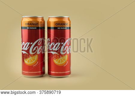 Samut Prakan, Thailand - July 11, 2020 : Canned Coke No Sugar Orange Flavoured The Most Popular Beve