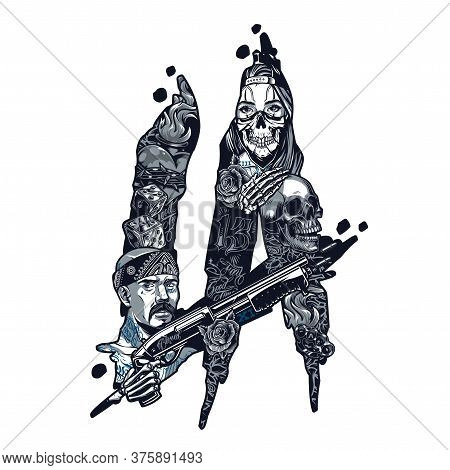Vintage Monochrome Chicano Tattoo Concept With Latino Gangster Holding Shotgun Girl In Scary Mask Sk
