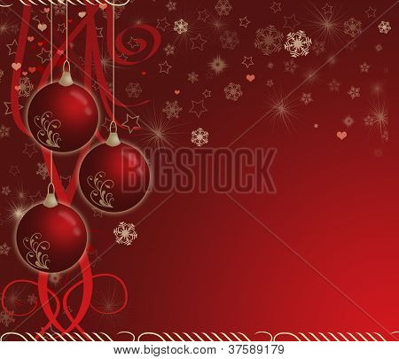 creative christmas card with baubles and snowflake poster