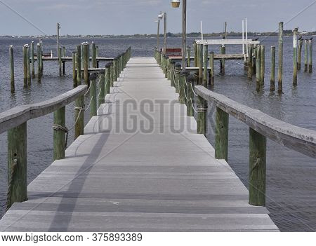 Wharf, Dock For Boats In Punta Gorda, Florida