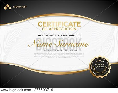 Diploma Certificate Template Red And Gold Color With Luxury And Modern Style Vector Image, Suitable