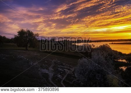 Beautiful Sunrise Over The Landscape Of Loveland Colorado