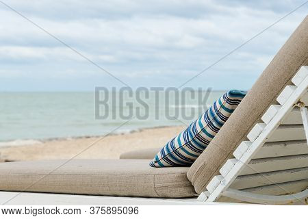 Backrest On Beach Chairs On A Beautiful Beach At Sunny Day - Vacation In Summer Time