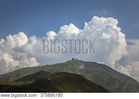 Mountain Peak Popivan (pip Ivan, Pop Iwan) With Abandoned Old Observatory Building On Top In Rainy W