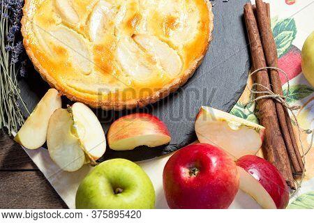 Delicious Dessert, Apple Pie Closeup, Delicious Treat For Pleasure