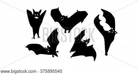 Collection Of Bats. Design For Halloween.black Bat Isolated On A White Background. Silhouette Of A B